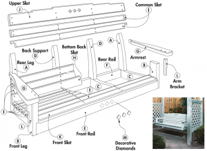 Free porch swing plans also plans for the accompanying for Lawn swing plans free