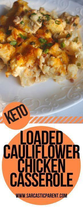 Keto Loaded Cauliflower Chicken Casserole