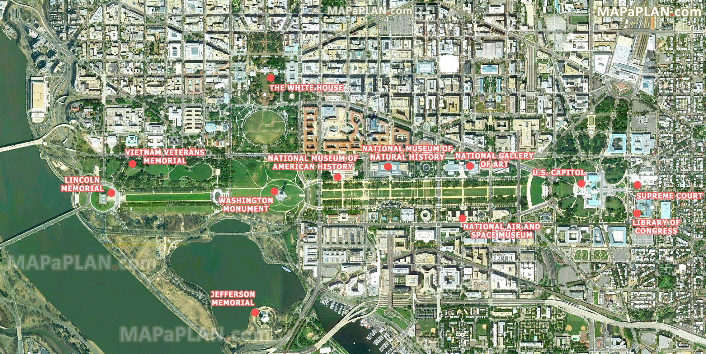 washingtondctoptouristattractionsmap04satelliteimage – Washington Tourist Attractions Map