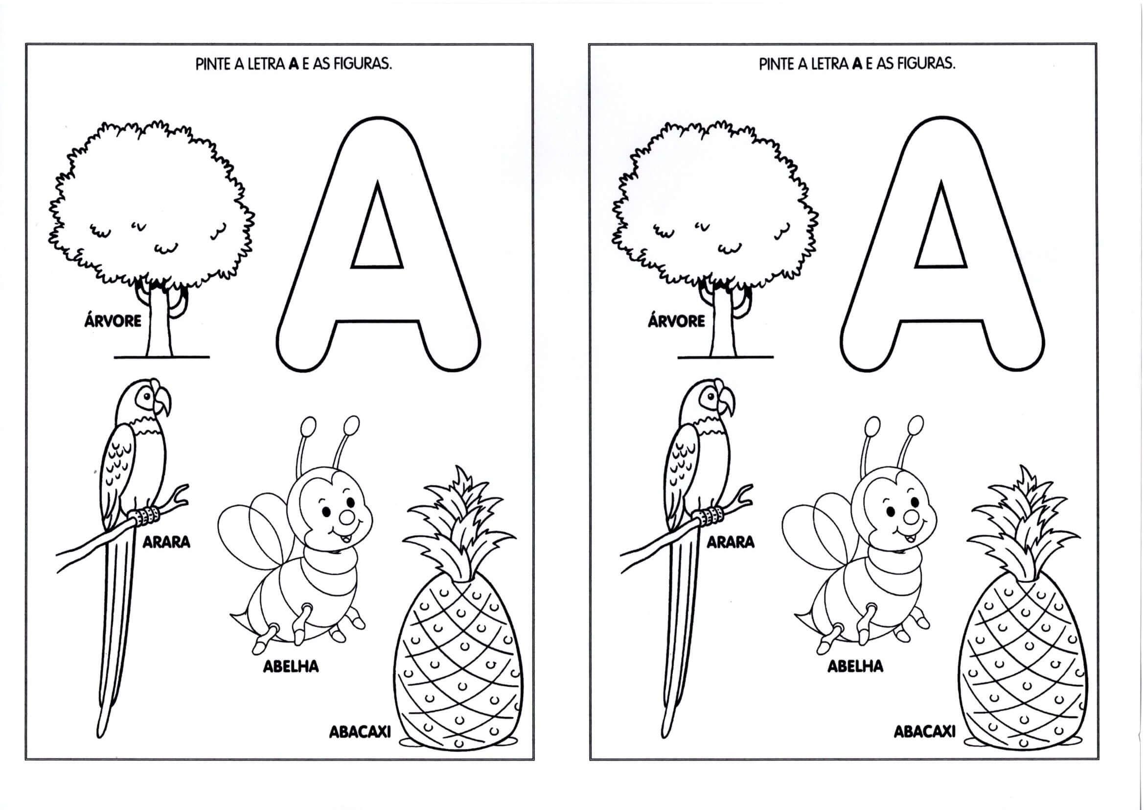 Vogais Pinte A Letra E As Figuras Letra A Atividades