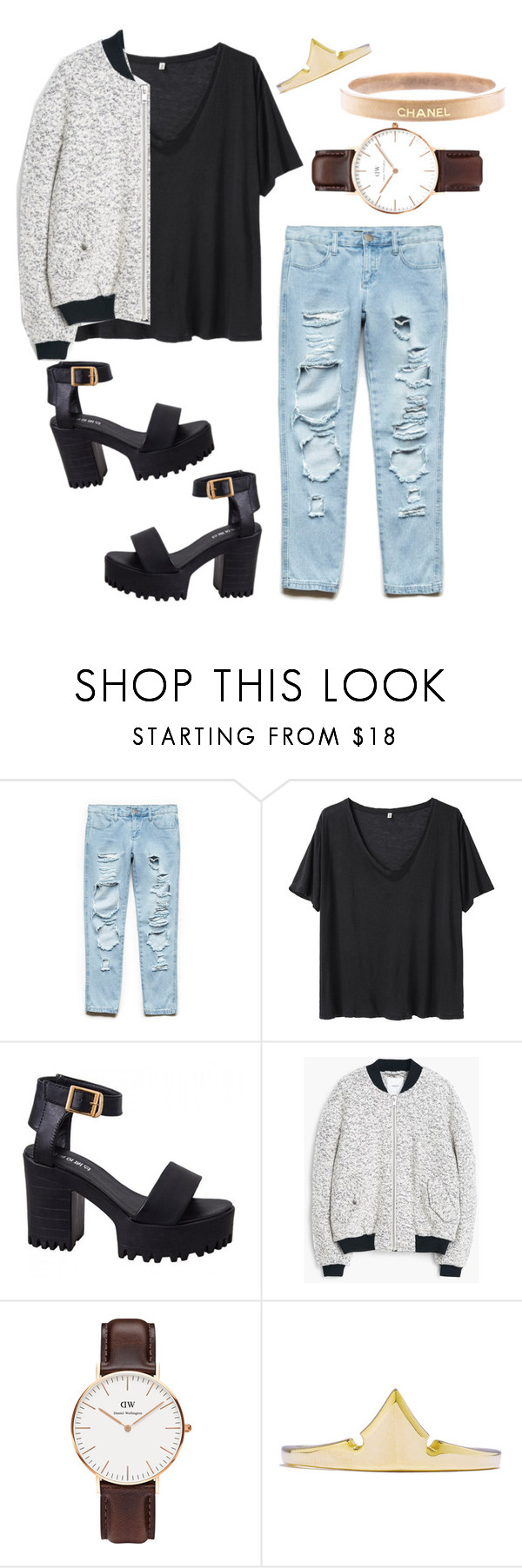 """Untitled #179"" by charmburritotaco ❤ liked on Polyvore featuring Forever 21, R13, MANGO, Daniel Wellington, Chanel, women's clothing, women's fashion, women, female and woman"