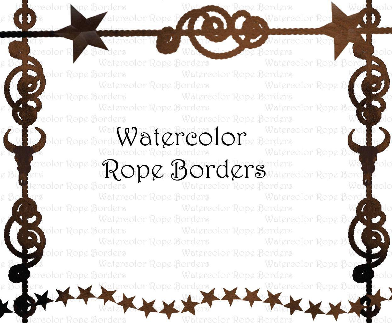 Watercolor Western Cowboy Rope Border Clipart Graphics High Etsy In 2020 Clip Art Borders Western Clip Art Digital Clip Art