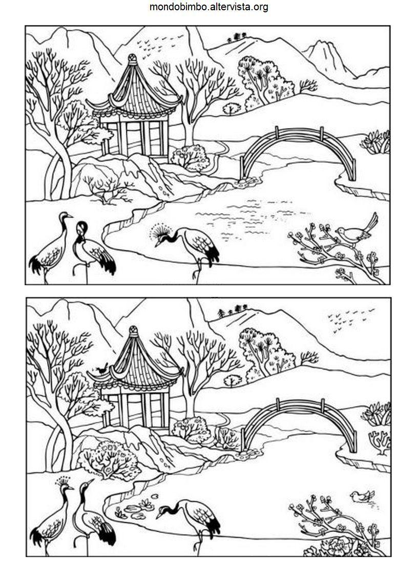 Disegno trova le differenze casa cinese colorare - Numero di fogli di lavoro per bambini ...