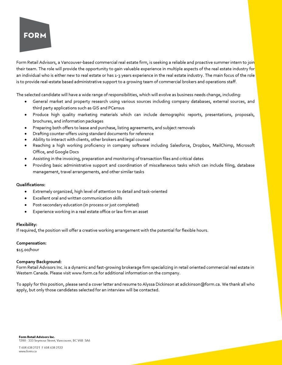 Real Estate Cover Letter form Real Estate Advisors On