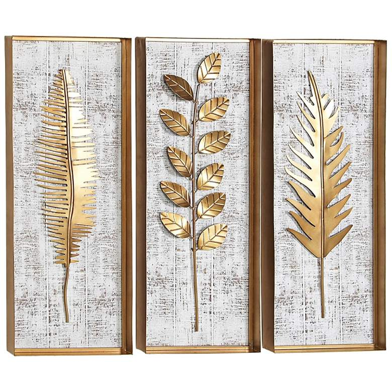 Natural 32 H Rectangular Wood And Metal 3 Piece Wall Art Set 61e08 Lamps Plus In 2021 Metal Leaf Wall Art Leaf Wall Art Metal Wall Art