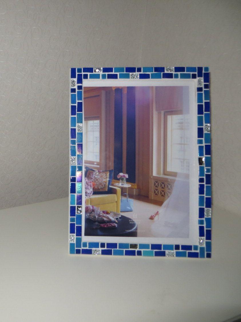Mosaic wall photo frame - 8x12 frame - Blue frame - Photo frame 8x12 ...