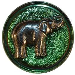 Green Glass Button with Silver Elephant