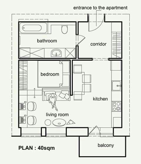 40 M2 Small Apartment Plans Apartment Plans Small Apartment Design