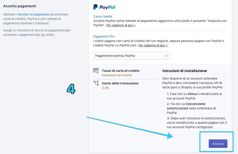 tutorial shopify in italiano | Impostazione Paypal - Shopify