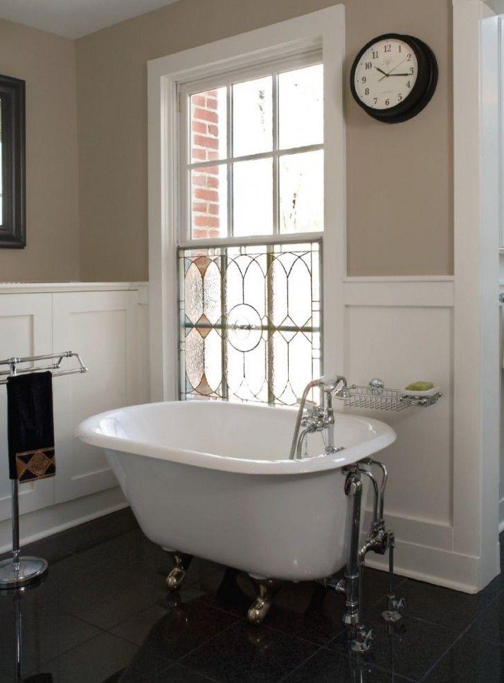 Bathroom, Mini And Deep Freestanding Tub Black Ceramic Tiles ...