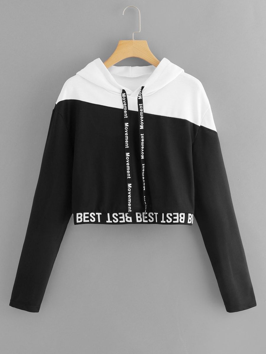 1f1eba29a0e2cd Letter Tape Color Block Sweatshirt -SheIn(Sheinside)