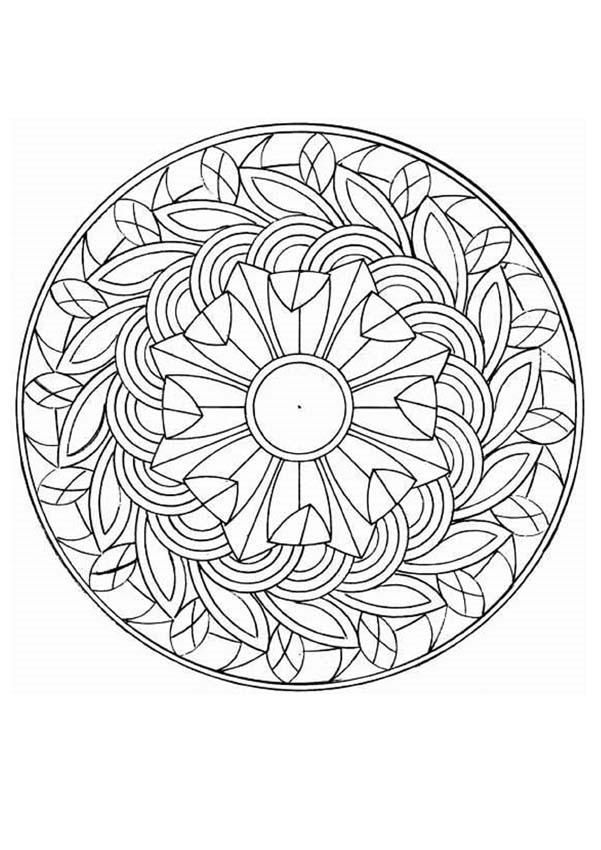 Floral Coloring Page With Flowers And Natural Things Beautiful Mandala For Adults Kids