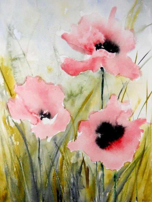 "Saatchi Online Artist: Karin Johannesson; Watercolor 2013 Painting ""Pink Poppies III"""