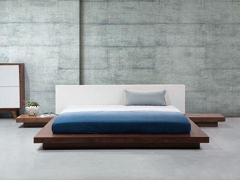 Lozko 180 X 200 Cm Brazowe Zen Upholstered Bed Frame Super King Size Bed Wooden Super King Bed