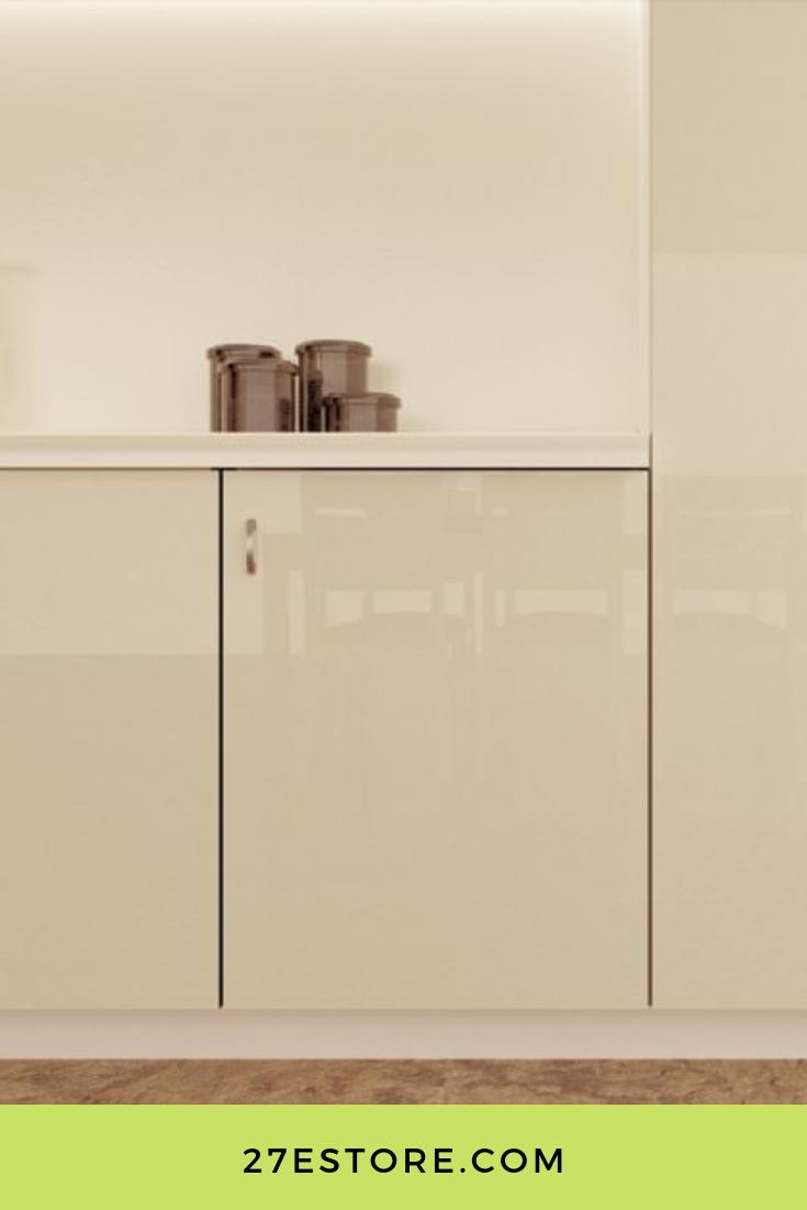 High Gloss Polyester Almond Cream | Gloss cabinets, Gloss ...