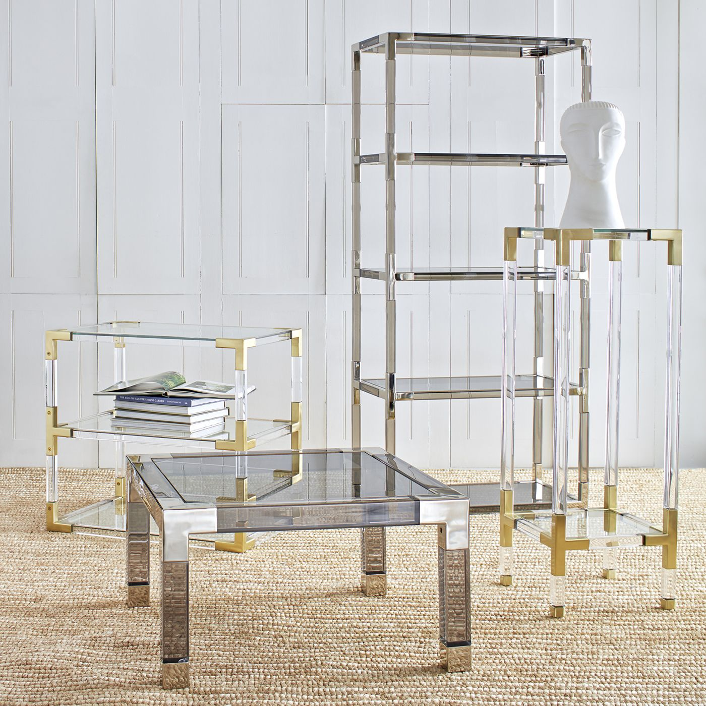 Jacques Two Tier Side Table Acrylic Furniture Furniture Lucite Coffee Tables
