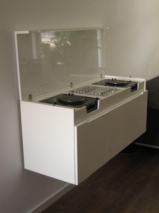 floating dj booth check out this awesome dj setup at studio pinterest. Black Bedroom Furniture Sets. Home Design Ideas