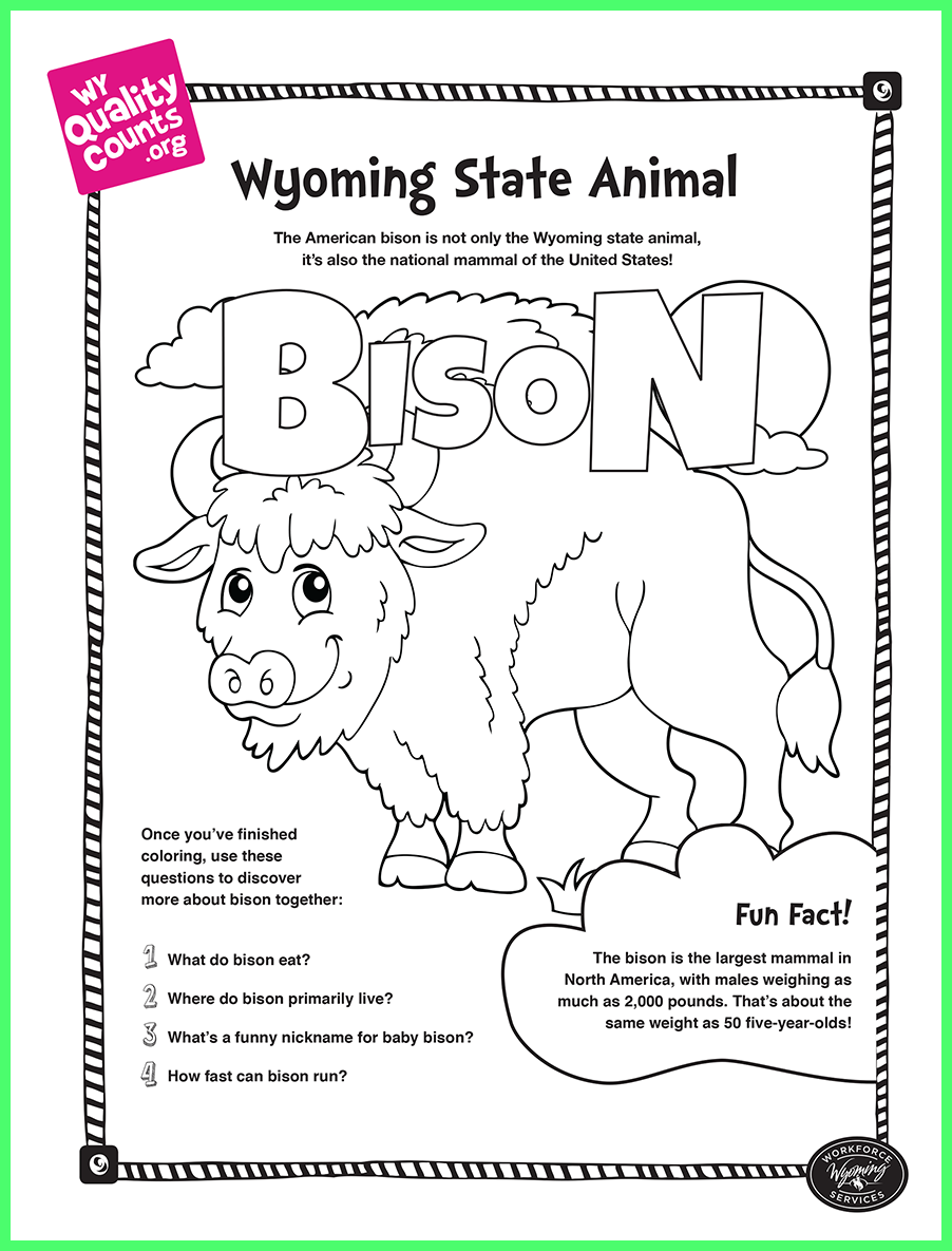 Bison Coloring Page Wy Quality Counts Coloring Pages Free Coloring Pages Animal Facts For Kids