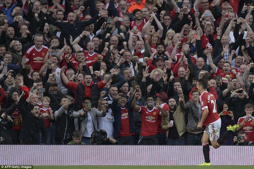 It's pandemonium at Old Trafford after Herrera's 70th minute penalty against Brendan Rodgers' outfit