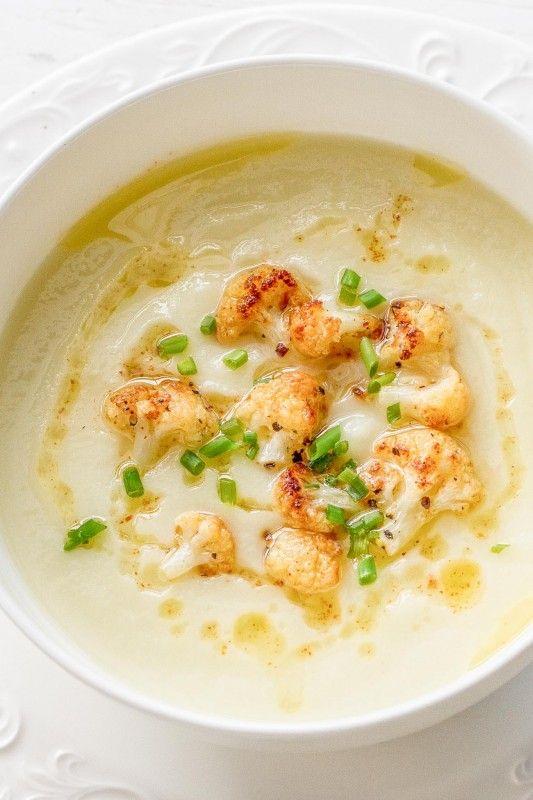 Creamy Cauliflower Soup - anything but boring!  www.savingdessert.com