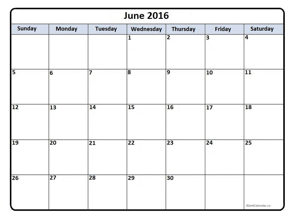June 2016 calendar printout For me Pinterest 2016 calendar - sample of excel spreadsheet