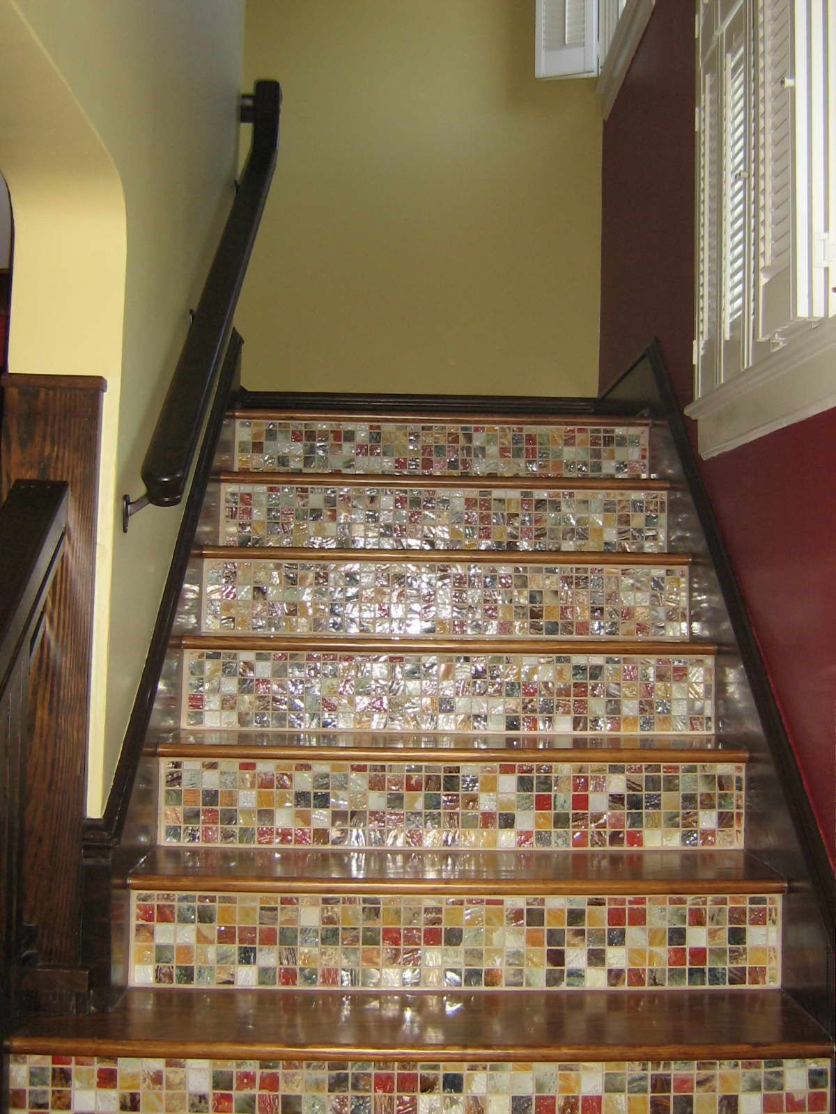 Wood Staircase · Mosaic Tiles
