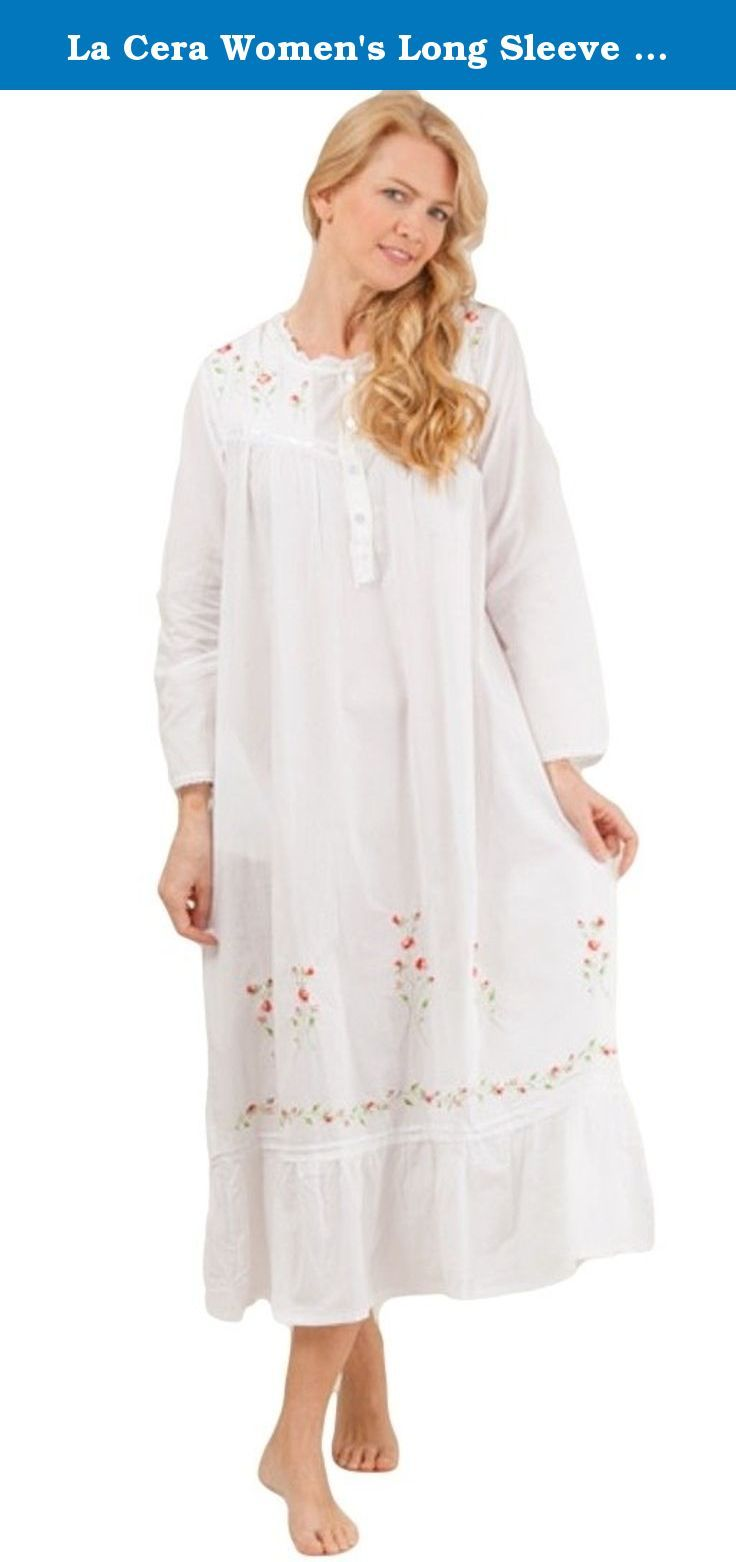 La Cera Womens Long Sleeve Plus Size Nightgown 1x White This