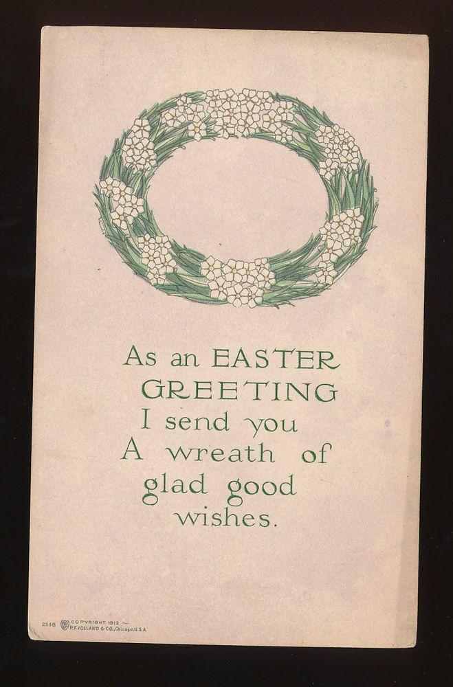 OLD ARTS & CRAFTS Easter Wreath Postcard- Volland--Art Deco Details-mmm892