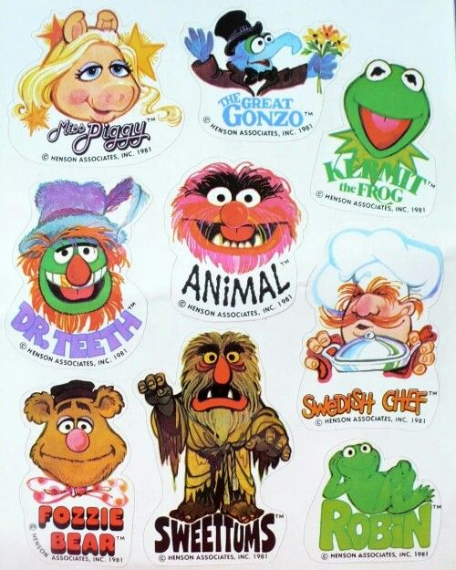 Muppets Animal Free Printable: Vintage Stickers • The Muppets • 1980s TV Show Cartoon