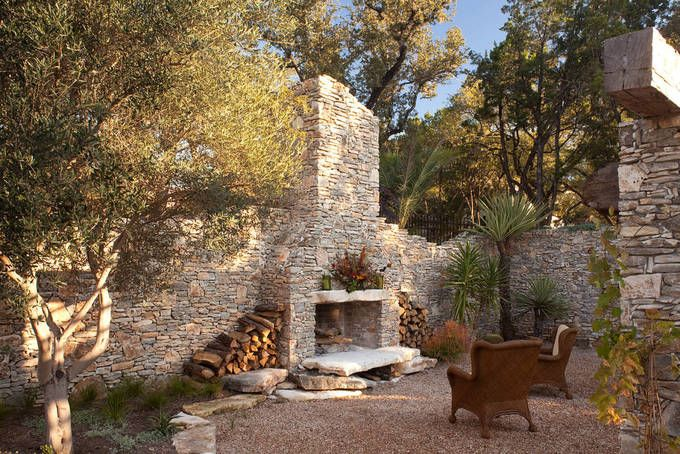 """Private, wonderfully Tree-Shaded """"Hidden Ruin"""" Outdoor Stone Fireplace [1348 × 900]"""