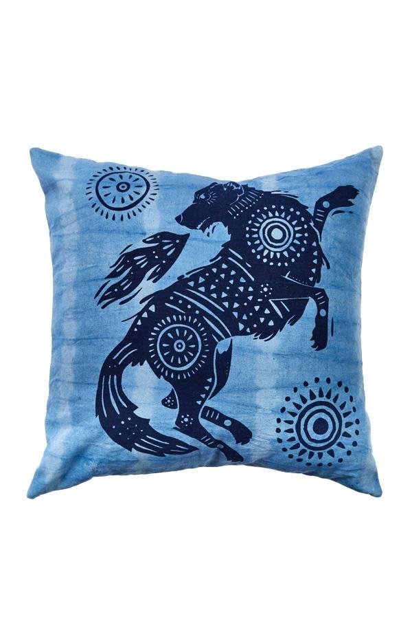 Tiedye Spirit Animal Throw Pillow - Brown
