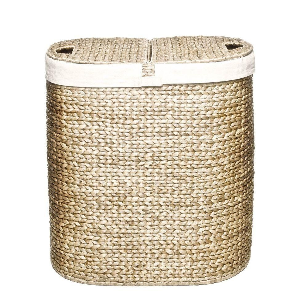 Seville Classics Water Hyacinth Oval Double Hamper Hand Woven