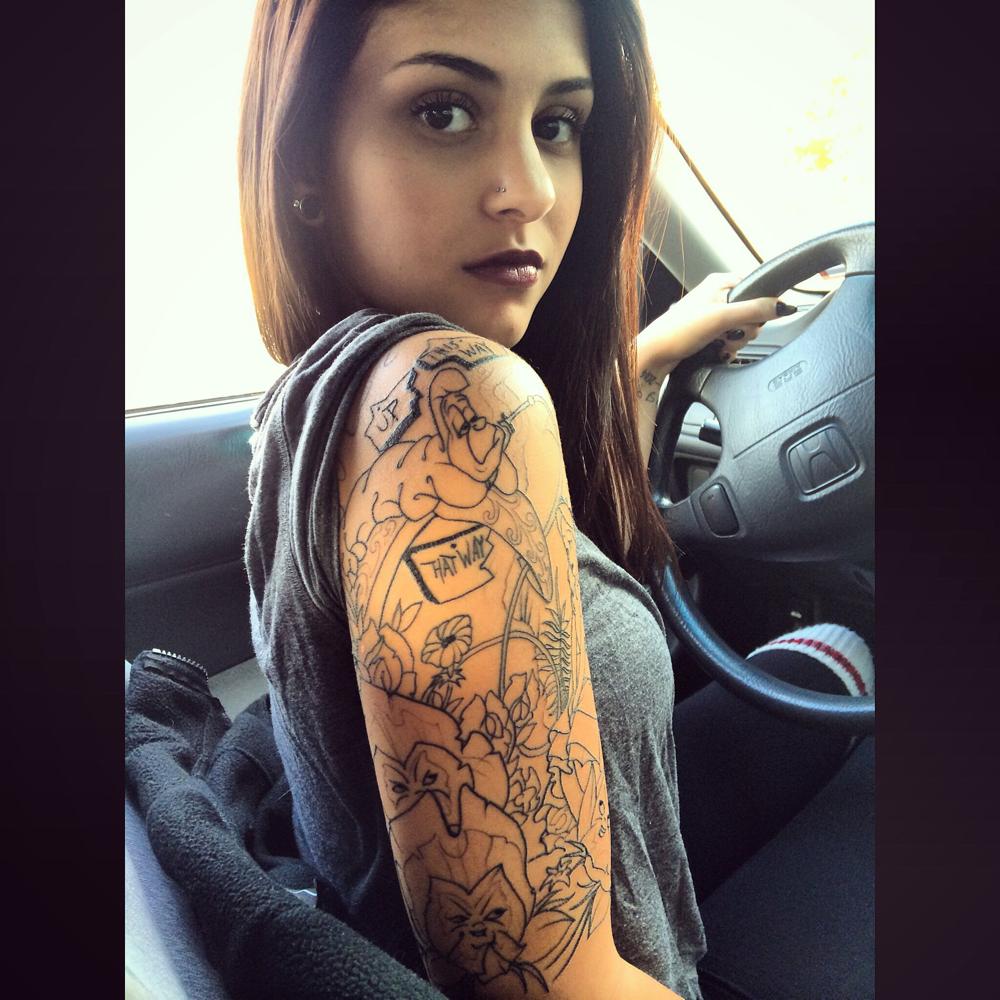 Alice and wonderland tattoo Alice in wonderland half ...