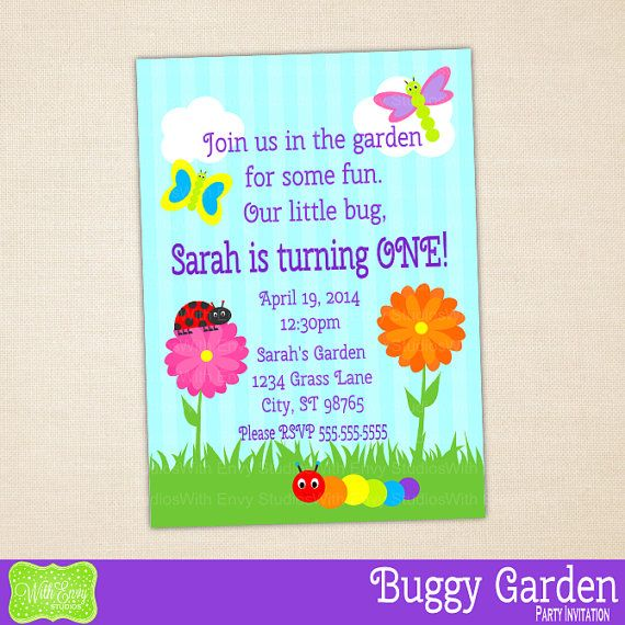 bug party invitation garden birthday invite printable invitation