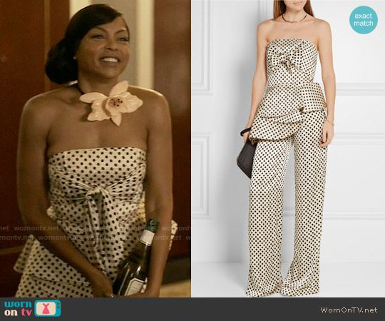 5767619b04e Cookie s strapless polka dot top and trousers and large flower necklace on  Empire. Outfit Details