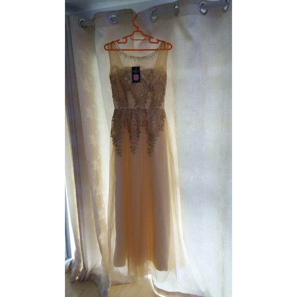 Royal blue tulle lace evening dress long gold sashs formal wedding