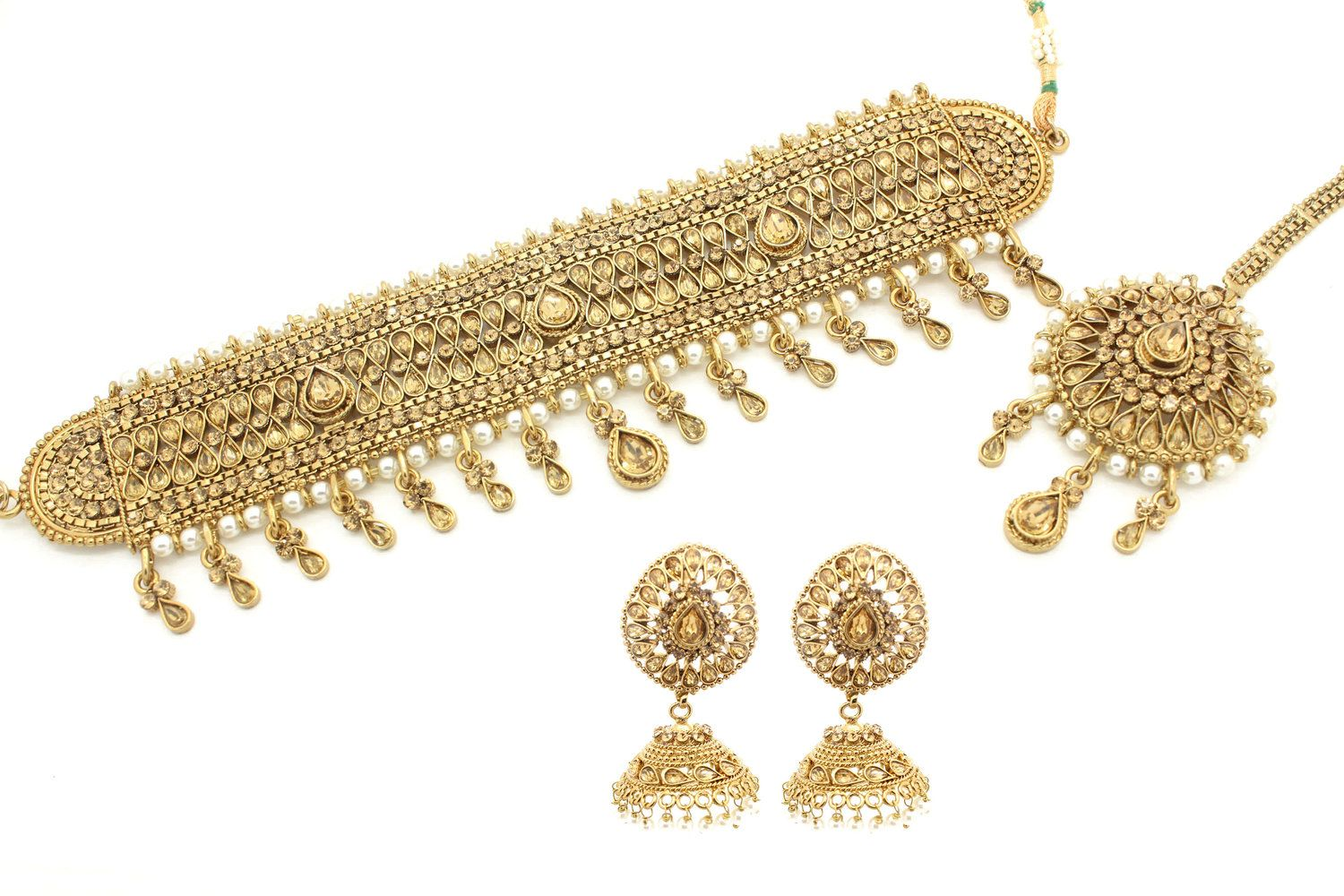1dca0cc09 Antique Gold Kundan Polki Indian Asian Choker Necklace Jhumki Earring Jewelry  Jewellery Set