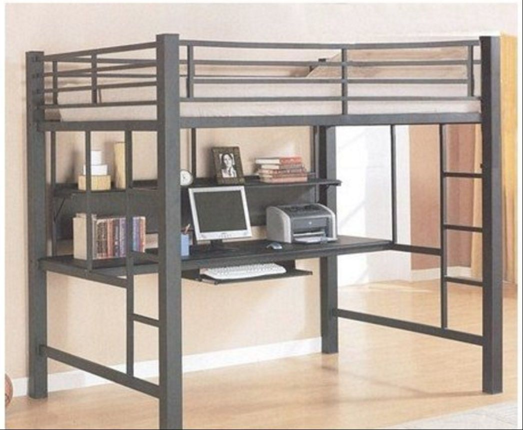 Coaster fine furniture loft bed with workstation black