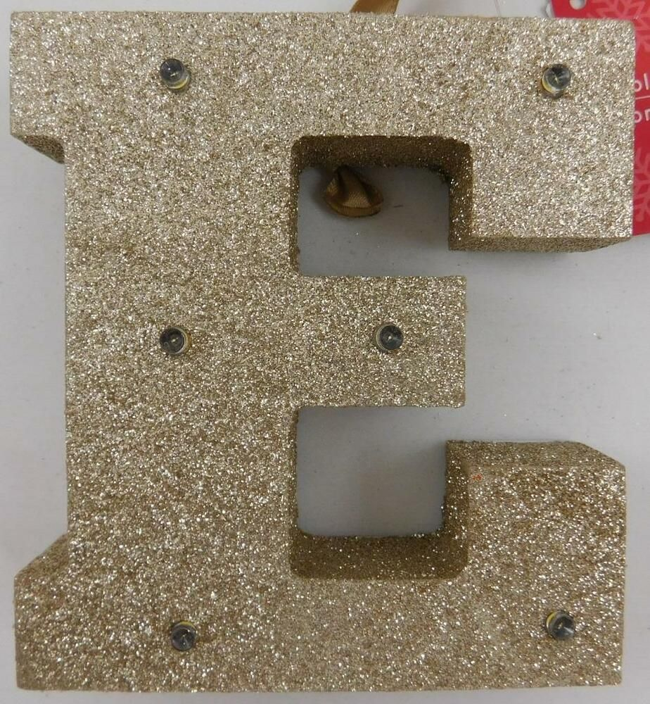 """Letter Z Light-up Marquee Holiday Ornament Gold Glitter Monogram Initial Xmas 5/"""""""