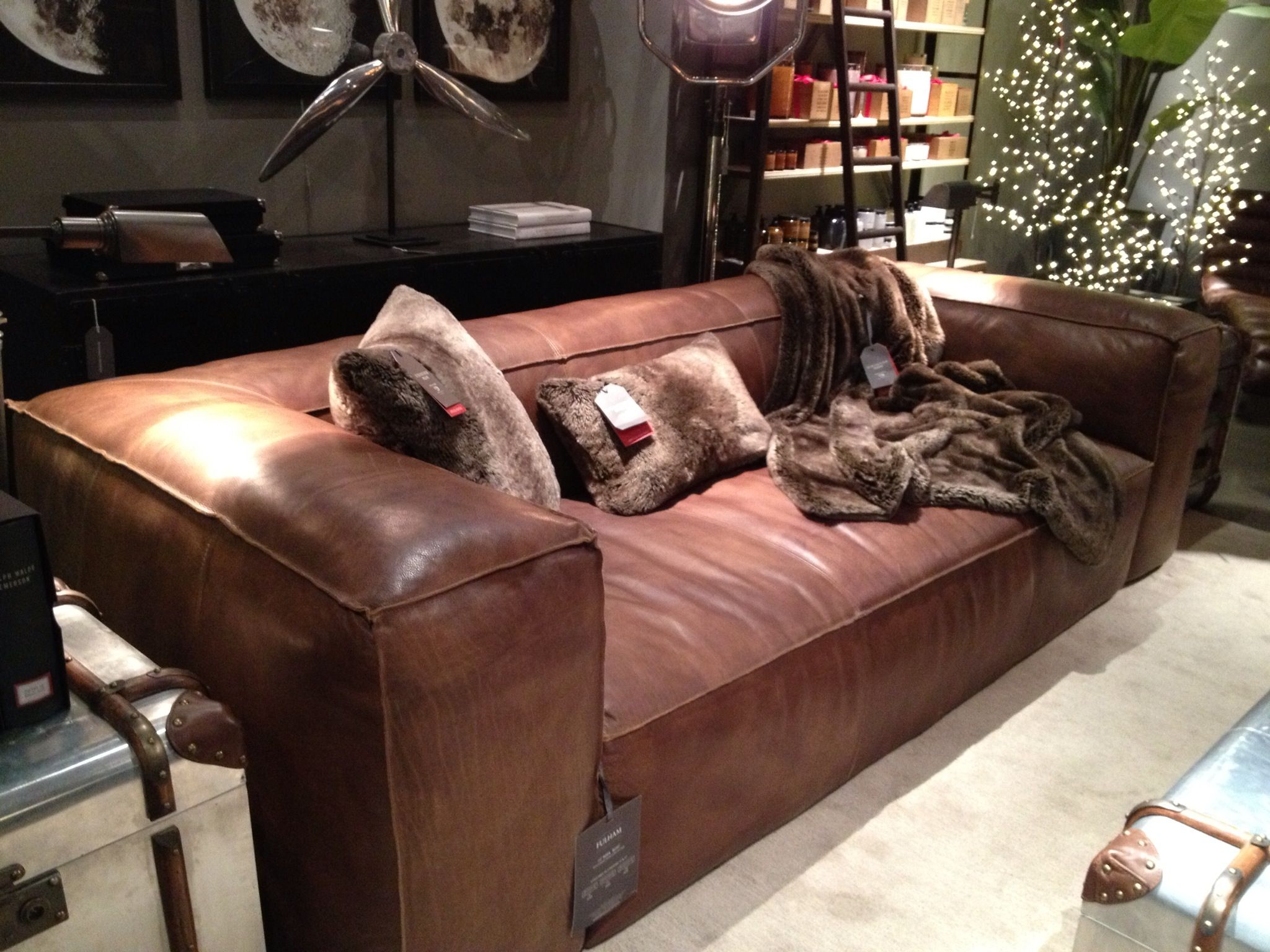 Restoration Hardware Fulham Sofa Matador Nutmeg Leather