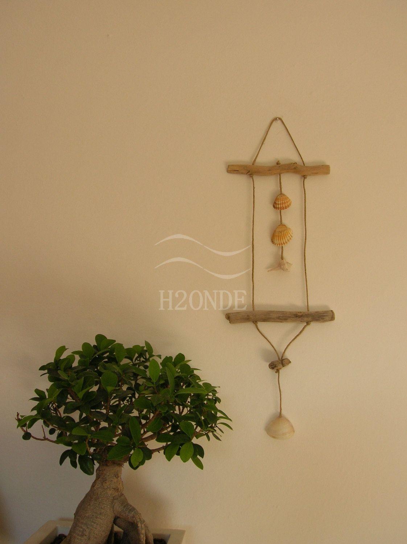Decorazione conchiglie da parete, decoro legno di mare,arredo sala ...