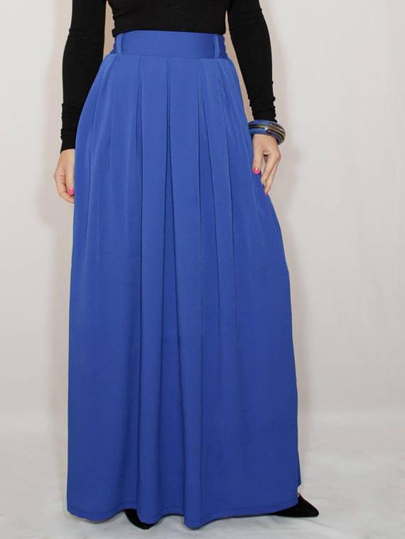 e2403d16f316 Cobalt blue chiffon maxi skirt with pockets Women skirt Long skirt High  waisted skirt