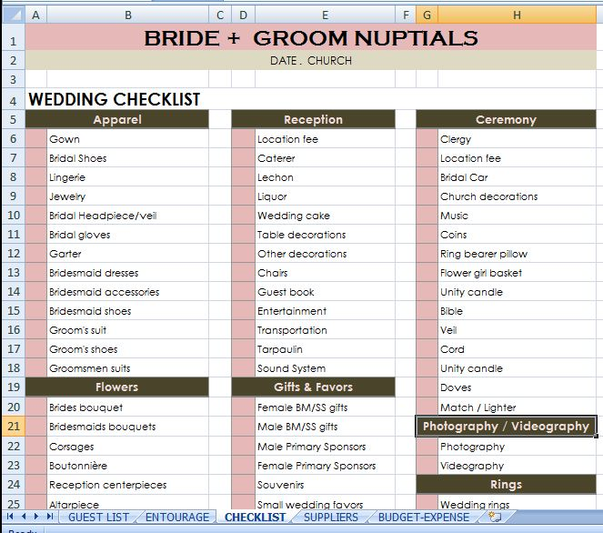 Bride + Groom checklist #budgetwedding #weddingchecklist http - wedding checklist template