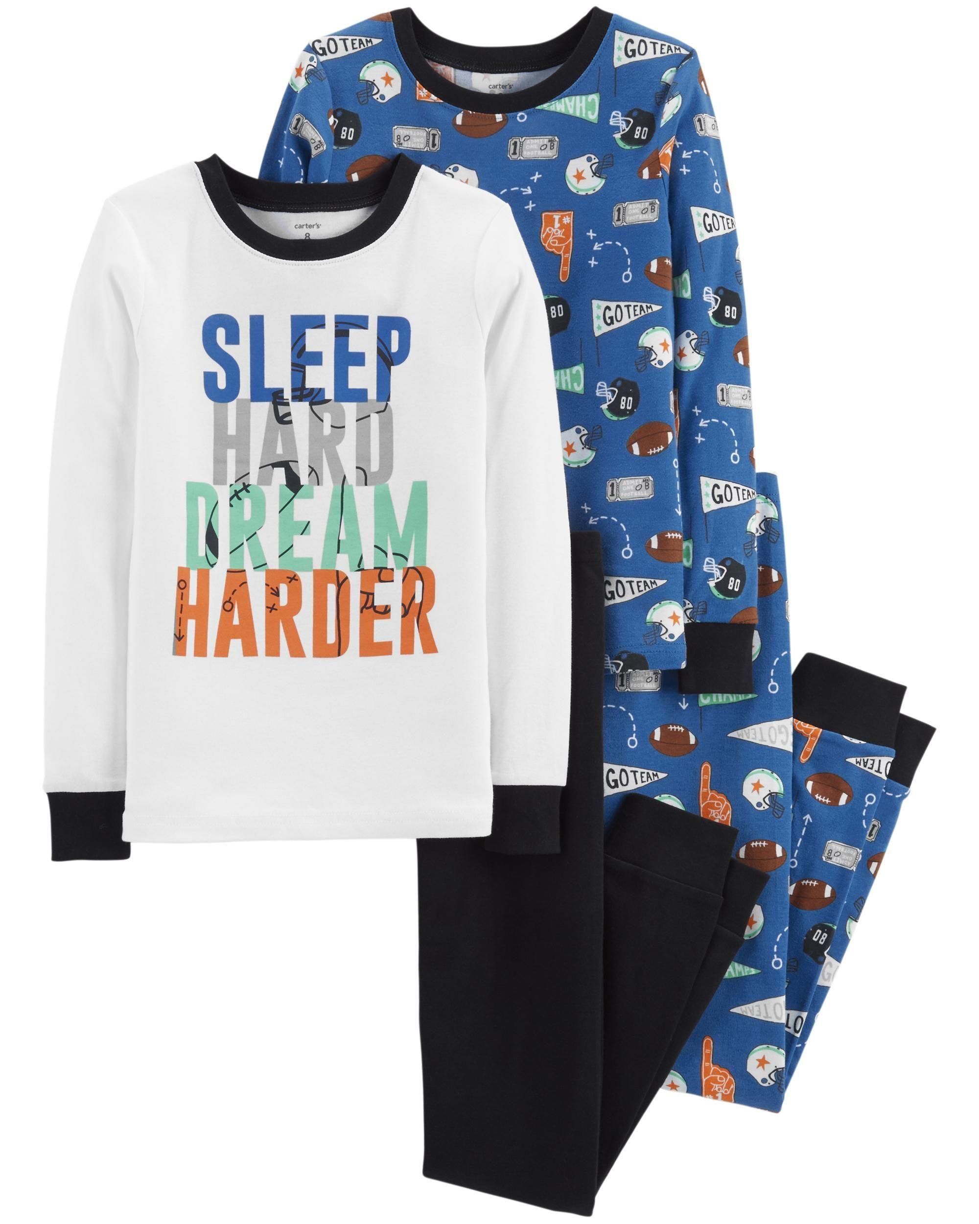 0c6245417 4-Piece Sports Snug Fit Cotton PJs