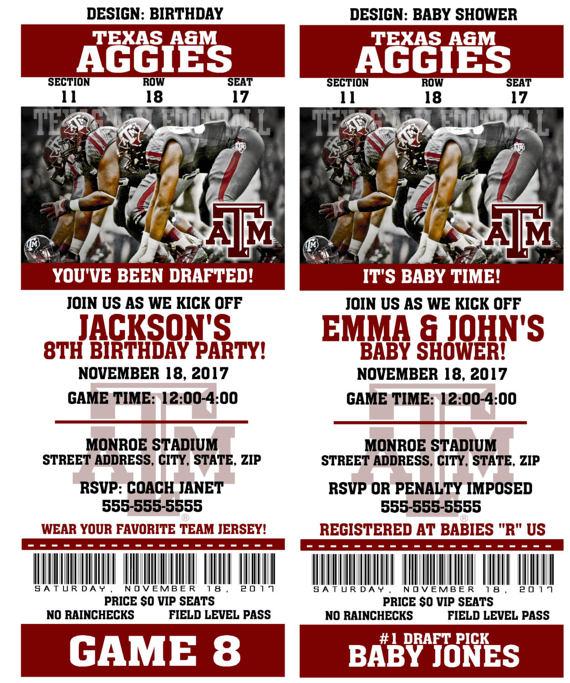 Printable Texas A & M Aggies College Football Birthday