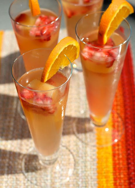 Summer Mimosa with Frozen OJ & Strawberry Ice Cubes