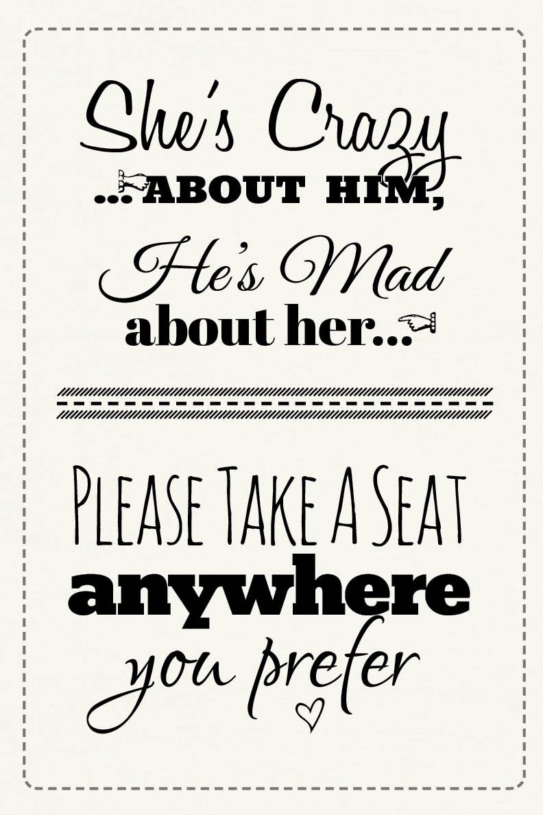Pick A Seat Wedding Sign Grab The Free Printable Here