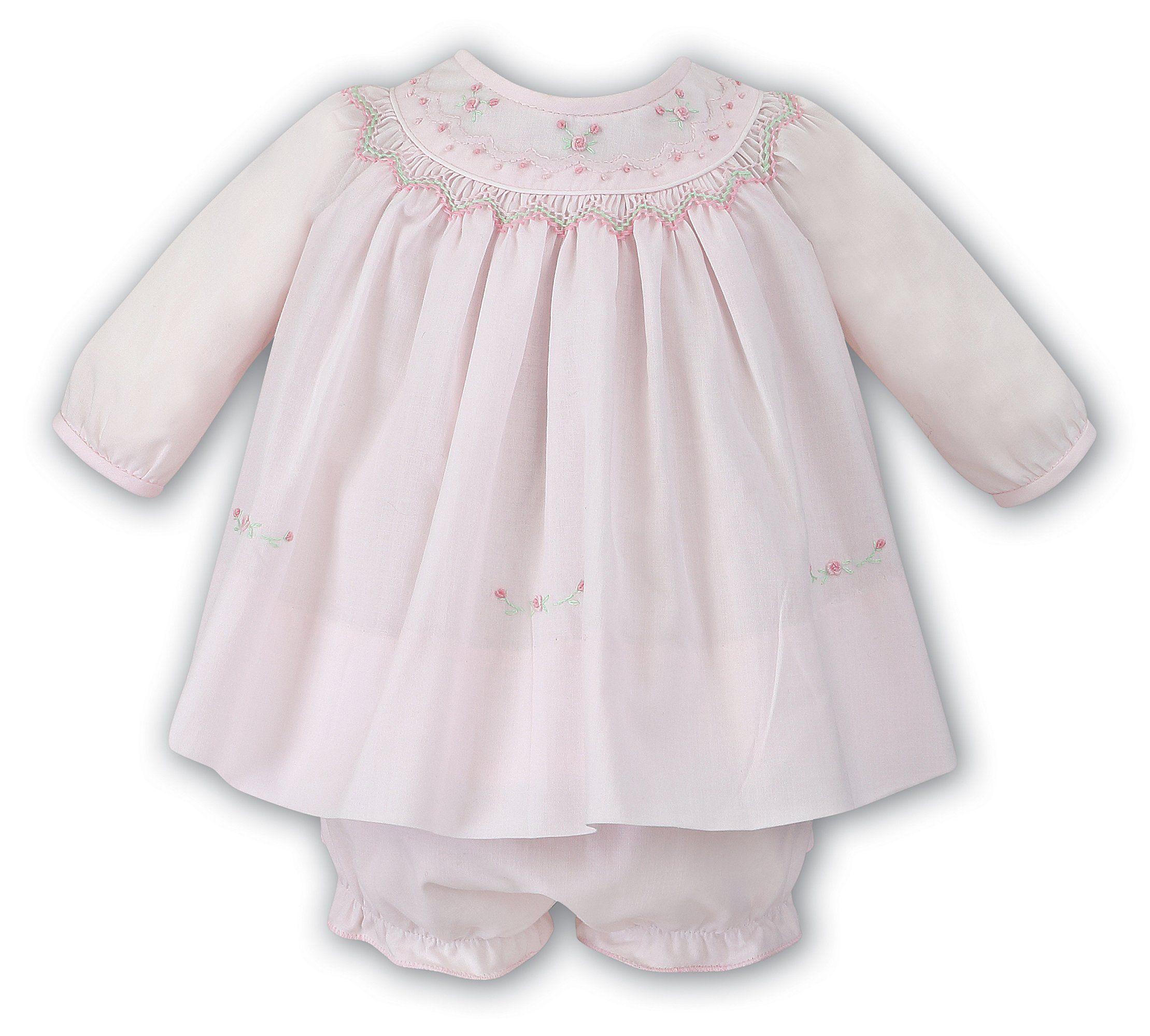 Sarah Louise Baby Girls Pink Rose Smocked Dress Preemie Newborn 3 6 ...