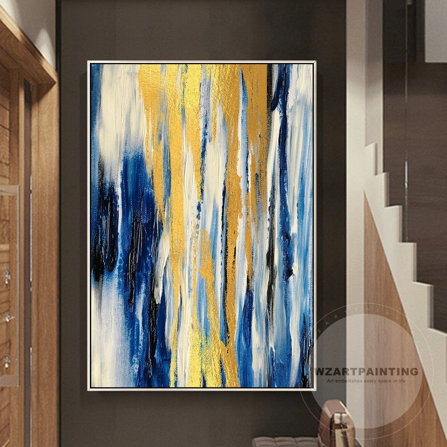 Blue Gold White Yellow Cool Abstract Canvas Wall Art Large Picture Prints