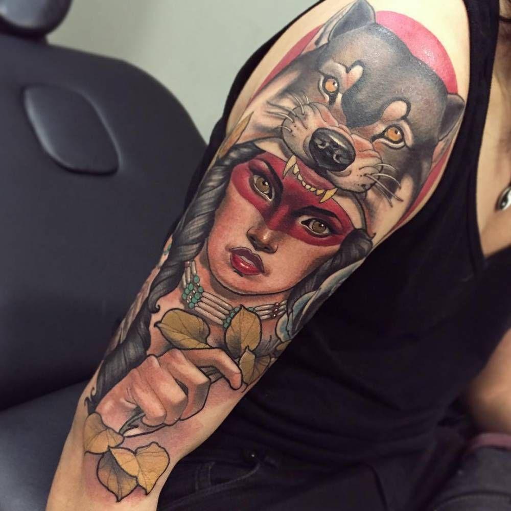 Wolf Headdress Tattoo: Neotraditional Style Native American Girl Wearing A Wolf